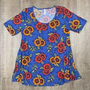 Lularoe 'Perfect T' Blue Floral Shirt Medium